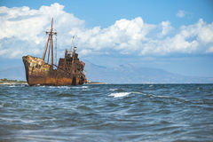 Old rustic big ship. Blue sky Royalty Free Stock Photo
