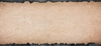 Old rustic blank paper put on wooden tabletop Stock Photography