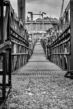 Old rustic bridge in the amsterdam harbor stock photography