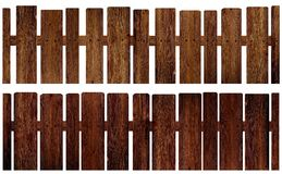 Old rustic brown fence on a white background isolated set. Royalty Free Stock Images