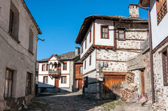 Old rustic bulgarian houses. Old traditional rustic houses in ethnographic reserve of Shiroka Laka, Bulgaria Royalty Free Stock Image