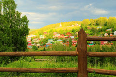 Old rustic fence village Stock Photo