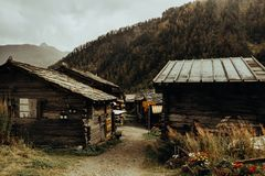 Houses in Swiss mountains royalty free stock image