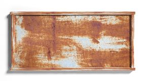 Old rustic metal sign post. On white background Stock Photo