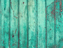 Old rustic painted cracky green (turqouise) wooden texture Stock Photo
