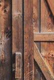 Old Rustic Pine Wood Barn Door. Detail Stock Photo