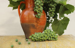 Old rustic pitcher with green grapes and grape leaves on a wooden background closeup. Stock Photos