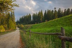 Old rustic road wooden fence green grass Stock Photo