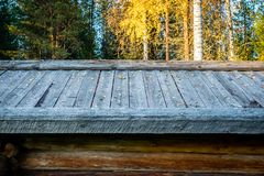 Old rustic russian house from logs stock photo