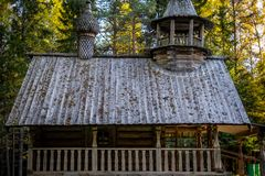 Old rustic russian house from logs royalty free stock photos
