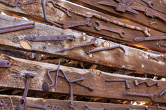 Old Rustic Tools. Sets of old tools attached to a wall in Jerome, Arizona, USA royalty free stock images
