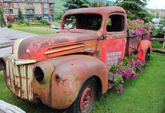 Old Rustic Truck Display. This old rusty truck's usefulness has now been reborn by being put on display as a planter for flowers. By looking at this truck you Royalty Free Stock Photography