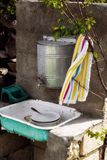 Old rustic wash basin Stock Images
