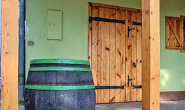 Old rustic wine barrel. Wine background in Europe. Czech Republic, South Moravia.  royalty free stock photos