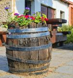 Old rustic wine barrel with flowers. Wine background in Europe. Czech Republic, South Moravia.  stock photos