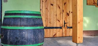 Old rustic wine barrel. Wine background in Europe. Czech Republic, South Moravia.  stock image