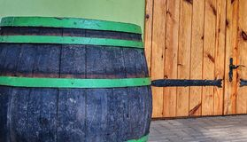 Old rustic wine barrel. Wine background in Europe. Czech Republic, South Moravia.  royalty free stock image