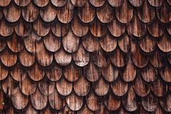 Old rustic wood tiling roof Royalty Free Stock Photos