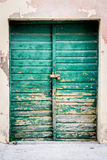 Old rustic wooden doors painted in green. Old rustic wooden gate painted in green Stock Photography