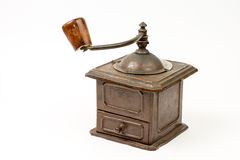 Old rustic wooden hand mill for coffee and spices Stock Photos