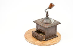 Old rustic wooden hand mill for coffee and spices Stock Photo