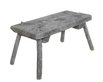 Old rustic wooden seat isolated. Stock Photos