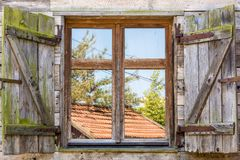 Old rustic window of a traditional farm royalty free stock image