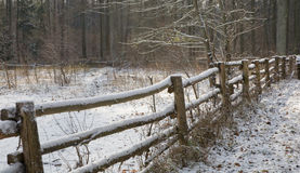Old rustical fence snow wrapped Royalty Free Stock Photo