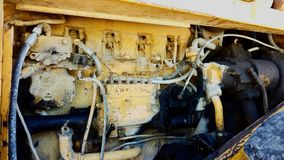 Old Rusting Bulldozer Tractor Engine Stock Photo
