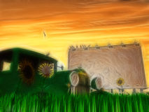 Old rusting truck and billboard with flowers. Painting Stock Photography