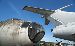 Old rusty abandoned airplanes. Front close-up view Royalty Free Stock Photography