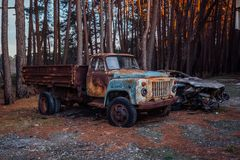 Old rusty abandoned truck stock images