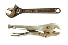 Old rusty Adjustable wrenches. Spanners isolated on white Royalty Free Stock Photography