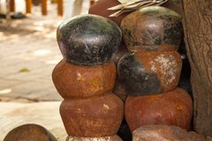 Old rusty alms-bowl.Waiting for decoration. To be beautiful With Thai craftsmen stock image