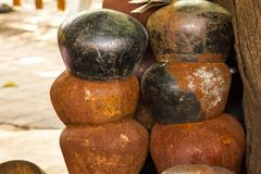 Old rusty alms-bowl.Waiting for decoration. To be beautiful With Thai craftsmen royalty free stock photos