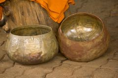 Old rusty alms-bowl.Waiting for decoration. To be beautiful With Thai craftsmen stock photo