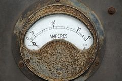 Old rusty ampere meter. Unit royalty free stock image