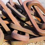 Old rusty anchor chain. Close-up stock photo