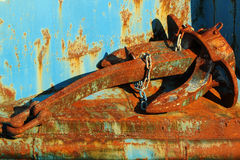 Old rusty anchor with chain Stock Photos