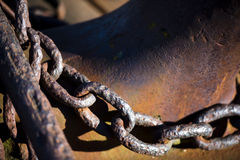 Old rusty anchor chain Stock Images