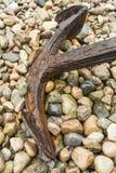 Old rusty anchor on rocks, Newfoundland Royalty Free Stock Image