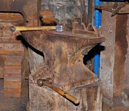 Old rusty Anvil in a Workshop Stock Images