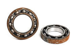 Old and rusty ball bearing, isolated on white background. Old and rusty ball bearing, isolated Royalty Free Stock Photo