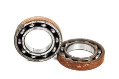 Old and rusty ball bearing, isolated on white background Stock Photography