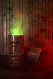 Old rusty barrels with toxic smoke Royalty Free Stock Photos