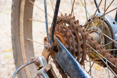 Old rusty bicycle chain Royalty Free Stock Images
