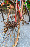 Old rusty bicycle closeup Stock Image