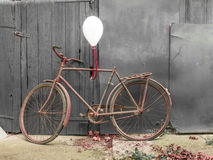 Old rusty bicycle decorated, intimate pictures for greetings card Stock Images