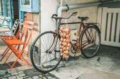 Old and rusty bicycle with pink onions of Roscoff, France