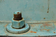 Old rusty big metal screw nut and bolt Stock Photos